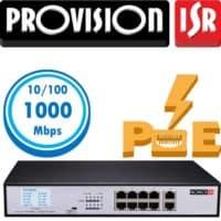 """סוויץ 8 ערוצים 10/100/1000 PoE סה""""כ 120W כולל מסך LCD , העברת נתונים עד 250 מטר  בנוסף קיימים עוד 2 ערוצי Up-link במהירות 1Gbps"""
