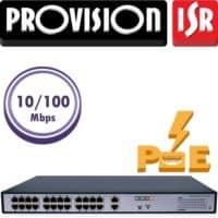 """סוויץ 24 ערוצים 10/100 PoE סה""""כ 300W כולל מסך LCD , בנוסף 2 ערוצי Up-link במהירות 1Gbps"""