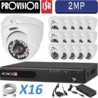 סט 16 מצלמות אבטחה כיפה אינפרה 2MP דגם Eco  כולל dvr Provision ספק כח מרכזי וכבלים
