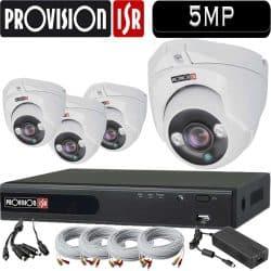"""סט 4 מצלמות אבטחה כיפה 5MP אינפרה עדשה 3.6 מ""""מ כולל dvr Provision ספק כח וכבלים"""
