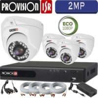 סט 4 מצלמות אבטחה כיפה אינפרה 2MP דגם Eco  כולל dvr Provision ספק כח וכבלים