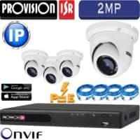 סט 4 מצלמות אבטחה כיפה IP אינפרה 2MP כולל nvr עם PoE מובנה וכבלים