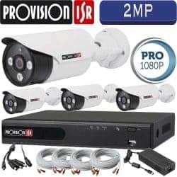 סט 4 מצלמות אבטחה צינור אינפרה 2MP דגם Pro כולל dvr Provision ספק כח מרכזי וכבלים