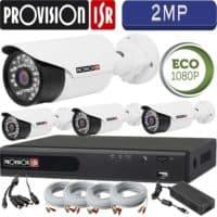 סט 4 מצלמות אבטחה צינור אינפרה 2MP דגם Eco  כולל dvr Provision ספק כח וכבלים