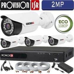 סט 4 מצלמות אבטחה צינור אינפרה 2MP דגם Eco כולל dvr Provision ספק כח מרכזי וכבלים