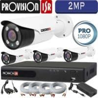 """סט 4 מצלמות אבטחה צינור אינפרה 2MP עדשה משתנה 2.8-12 מ""""מ כולל dvr Provision ספק כח מרכזי וכבלים"""