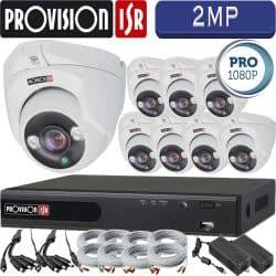 סט 8 מצלמות אבטחה כיפה אינפרה 2MP דגם Pro כולל dvr Provision ספק כח וכבלים