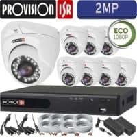 סט 8 מצלמות אבטחה כיפה אינפרה 2MP דגם Eco  כולל dvr Provision ספק כח מרכזי וכבלים
