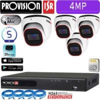 סט 4 מצלמות אבטחה כיפה IP אינפרה 4MP מיקרופון מובנה כולל nvr וכבלים