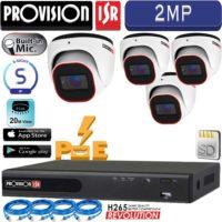 סט 4 מצלמות אבטחה כיפה IP אינפרה 2MP מיקרופון מובנה כולל nvr עם PoE מובנה וכבלים