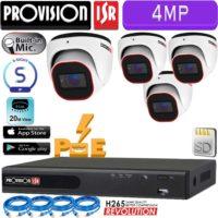 סט 4 מצלמות אבטחה כיפה IP אינפרה 4MP מיקרופון מובנה כולל nvr עם PoE מובנה