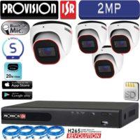 סט 4 מצלמות אבטחה כיפה IP אינפרה 2MP מיקרופון מובנה כולל nvr וכבלים