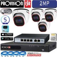 סט 4 מצלמות אבטחה כיפה IP אינפרה 2MP  מיקרופון מובנה כולל nvr כולל סוויץ PoE וכבלים