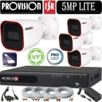 """סט 4 מצלמות אבטחה צינור 2MP סדרה Pro עדשה משתנה 2.8-12 מ""""מ אינפרה 40 מטר כולל dvr Provision ספק כח וכבלים"""