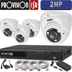 """סט 4 מצלמות אבטחה כיפה אינפרה 2MP עדשה משתנה 2.8-12 מ""""מ כולל dvr Provision ספק כח וכבלים"""