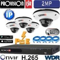"""סט 4 מצלמות אבטחה כיפה IP אינפרה 2MP עדשה 2.8 מ""""מ WDR מלא כולל מיקרופון מובנה כולל dvr עם PoE מובנה"""