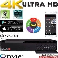 מערכת הקלטה ל 64 מצלמות אבטחה 32HD + 32IP רזולוציה 8MP דיסק 4TB