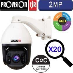 """מצלמת ממונעת 2MP זום כפול 20 עדשה 4.9-97 מ""""מ מהירות 350° בשנייה מרחק הארה 100 מטר"""