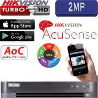 מערכת הקלטה Hikvision ל 4 מצלמות אבטחה + 1IP רזולוציה 2MP דיסק 1TB כולל אנליטיקה AcuSense