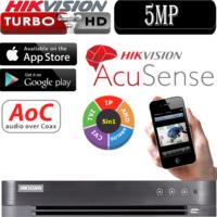 מערכת הקלטה Hikvision ל 4 מצלמות אבטחה + 4IP רזולוציה 5MP דיסק 1Tb אנליטיקה AcuSense