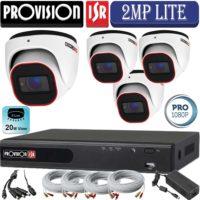 סט 4 מצלמות אבטחה כיפה אינפרה 2MP סדרה Pro  כולל dvr Provision ספק כח וכבלים