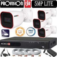 """סט 4 מצלמות אבטחה צינור אינפרה 5MP סדרה Pro עדשה חשמלית 2.8-12 מ""""מ אינפרה 40 מטר כולל dvr Provision"""