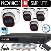 """סט 4 מצלמות אבטחה כיפה אינפרה 5MP סדרה Pro עדשה 2.8 מ""""מ כולל dvr Provision ספק כח וכבלים"""
